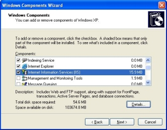 Windows XP Components Wizard