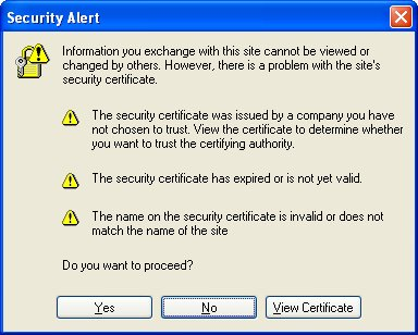 Internet Explorer SSL Security Alert