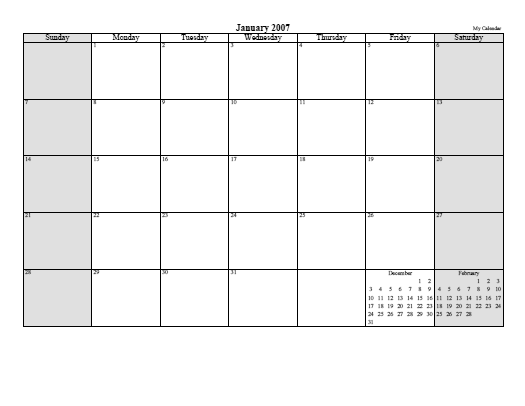 Printable Monthly Planner Calendar